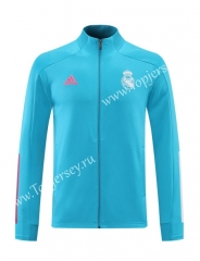 2020-2021 Real Madrid Sky Blue Thailand Training Soccer Jacket -LH