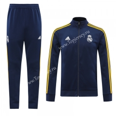 2020-2021 Real Madrid Royal Blue Yellow Line Thailand Soccer Jacket Uniform-LH