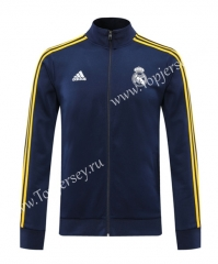2020-2021 Real Madrid Royal Blue Yellow Line Thailand Soccer Jacket-LH