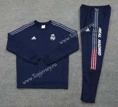 2020-2021 Real Madrid Round Collar Royal Blue Thailand Soccer Tracksuit -LH