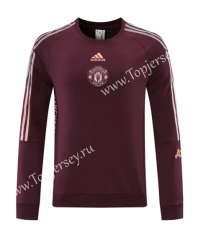 2020-2021 Manchester United Round Collar Maroon Thailand Soccer Tracksuit Top-LH