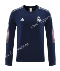 2020-2021 Real Madrid Round Collar Royal Blue Thailand Soccer Tracksuit Top-LH