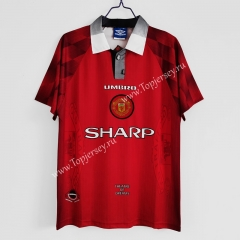 Retro Version 1996-1997 Manchester United Home Red Thailand Soccer Jersey AAA-C1046