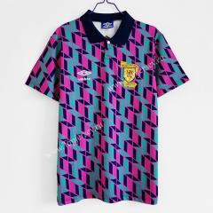 Retro Version 1988-1989 Scotland Away Pink&Blue Thailand Soccer Jersey AAA-C1046