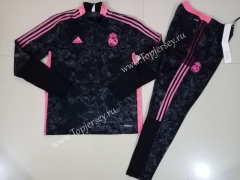 2020-2021 Real Madrid Black(Pad printing)Thailand Soccer Tracksuit-GDP