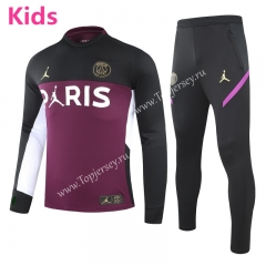 2020-2021 Jordan Paris SG Black&Purple Kids/Youth Soccer Tracksuit -GDP