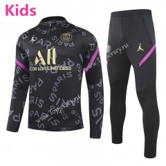 2020-2021 PSG Black (pad printing) Kids/Youth Soccer Tracksuit -GDP