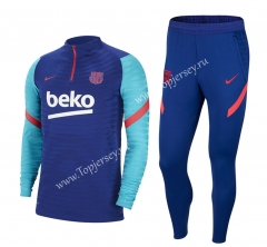 2020-2021 Barcelona Camouflage Blue Thailand Soccer Tracksuit-411