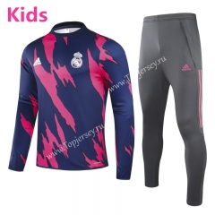 2020-2021 Real Madrid Red&Blue Kids/Youth Soccer Tracksuit-GDP