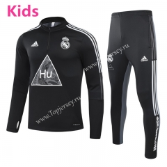 Joint Version 2020-2021 Real Madrid Black Kids/Youth Soccer Tracksuit-GDP