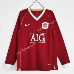 Retro Version 2006-2007 Manchester United Home Red LS Thailand Soccer Jersey AAA-C1046