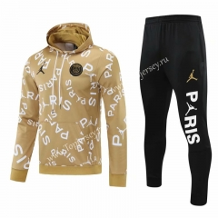 2020-2021 Jordan Paris SG Gold Thailand Soccer Tracksuit With Hat-418
