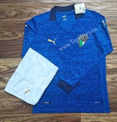 2020-2021 Italy Home Blue LS Soccer Uniform-709