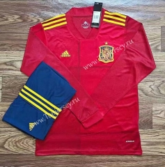 2020-2021 Spain Home Red LS Soccer Uniform-709