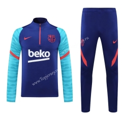 2020-2021 Barcelona Camouflage Blue Thailand Soccer Tracksuit-418