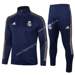 2020-2021 Real Madrid High Collar Royal Blue Thailand Jacket Uniform-815