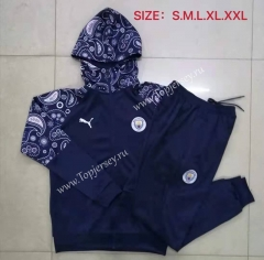 2020-2021 Manchester City Royal Blue Thailand Soccer Jacket Uniform With Hat-815