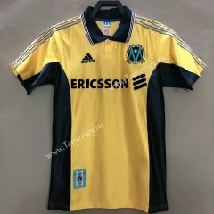 Retro Version 98-99 Olympique de Marseille Yellow Thailand Soccer Jersey AAA