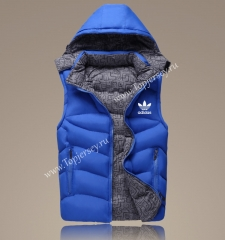 2021-2022 Blue Double-Sided Wear Hooded Jackets Cotton Vest