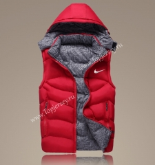 2021-2022 Red Double-Sided Wear Hooded Jackets Cotton Vest