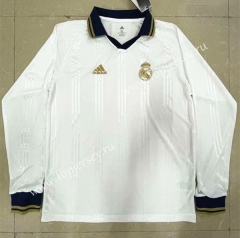 Retro Version Real Madrid Home White LS Thailand Soccer Jersey AAA-818