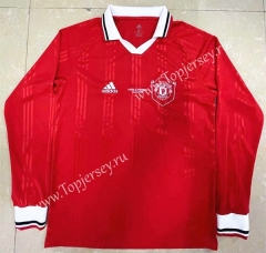 Retro Version Manchester United Red LS Thailand Soccer Jersey AAA-818