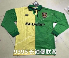 Retro Version 1993-1995 Manchester United Away Yellow&Green LS Thailand Soccer Jersey AAA-422