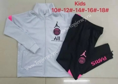 2021-2022 Paris SG Jordan Light Gray Kids/Youth Soccer Jacket Uniform-815