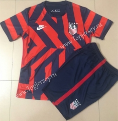 2021-2022 USA Away Red&Blue Soccer Unifrom-AY