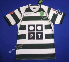 Retro Version 01-03 Sporting Clube de Portugal Home White and Green Thailand Soccer Jersey-HR