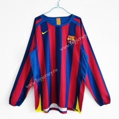Retro Version 2005-2006 Barcelona Home Red&Blue LS Thailand Soccer Jersey AAA-C1046