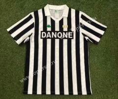 Retro Version 92-94 Juventus Home Black&White Thailand Soccer Jersey AAA-503