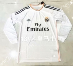 Retro Version 13-14 Real Madrid Home White LS Thailand Soccer Jersey AAA-826
