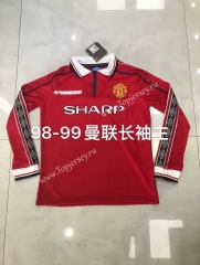 Retro Version 98-99 Manchester United Home Red LS Thailand Soccer Jersey AAA-826