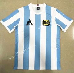 Retro Version 1986 Argentina Home Blue and White Thailand Soccer Jersey AAA-818