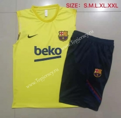2021-2022 Barcelona Yellow Thailand Soccer Vest Tracksuit -815