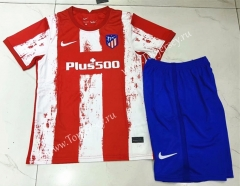 2021-2022 Atletico Madrid Home Red and White Youth/Kids Soccer Uniform