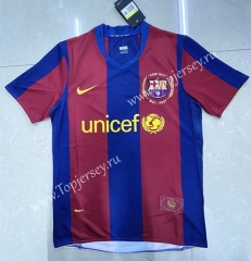 Retro Version 07-08 Barcelona Home Red&Blue Thailand Soccer Jersey AAA