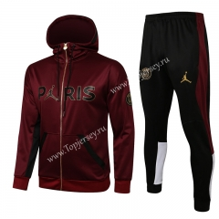 2021-2022 Jordan Paris SG Maroon Thailand Soccer Jacket Unifrom With Hat-815