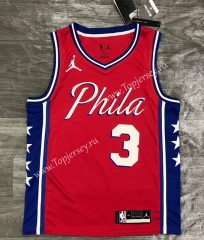 2021 Jordan Theme Philadelphia 76ers Red #3 NBA Jersey-311