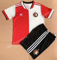 2021-2022 Feyenoord Rotterdam Home Red and White Kids/Youth Soccer Uniform-AY