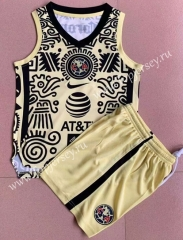 2021-2022 Club America 2nd Away Yellow Kids/Youth Soccer Vest Uniform-AY