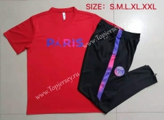 2021-2022 Jordan Paris SG Red Short-sleeved Thailand Soccer Tracksuit-815