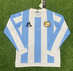 Retro Version 86 Argentina Home Blue and White LS Thailand Soccer Jersey AAA-407