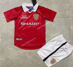 Retro Version 99 Manchester United Home Red Kids/Youth Soccer Uniform-SL