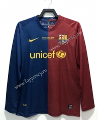 UEFA Champions League Retro Version 08-09 Barcelona Home Red&Blue LS Thailand Soccer Jersey AAA-811
