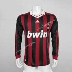 Retro Version 2009-2010 AC Milan Home Red&Black LS Thailand Soccer Jersey AAA-C1046