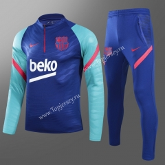 Player Version 2021-2022 Barcelona Blue Kids/Youth Soccer Tracksuit -GDP