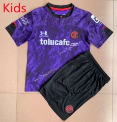 2021-2022 Deportivo Toluca FC 2nd Away Purple Kids/Youth Soccer Uniform -AY