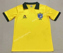 Retro Version 1998 Brazil Home Yellow Thailand Soccer Jersey AAA-XY